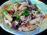 Pasta salad |Tasty Italian market pasta salad |purple cabbage penne pasta salad with walnuts