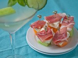Cool off with a Cucumber-Melon Martini & Prosciutto-Melon-Feta Bites