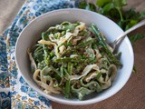 Homemade Spring Fettuccine with Pancetta, Peas & Asparagus