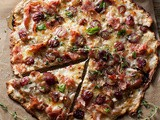 Rustic Pizza with Ham, Grapes, Shallots, Cheese, Honey & Thyme