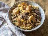 Truffle Scallops Pasta w/ Mushrooms + Shallots