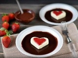 Cottage cheese and strawberry hearts on the chocolate bed