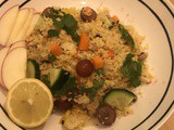 Crunchy Couscous salad with fruit, veg and black eyed peas