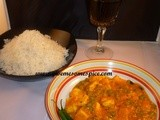 Mutter paneer and rice