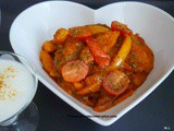 Potatoes and capsicum curry in tomato gravy (alu aur simla mirch rasadar curry)