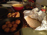 Quick falafel, halloumi and vegetable wraps
