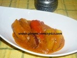Stuffed peppers in tomato gravy (bharena marcha nu shaak)