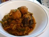Valor, methi (fenugreek) & aubergines with muthias (dumplings) curry