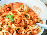 Pasta with Chicken and Chickpeas in a Creamy Tomato Pumpkin Sauce {gf, df}