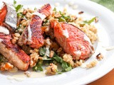Salmon over Quinoa Salad with Arugula, Almonds and Apricots {Gluten-Free, Dairy-Free}