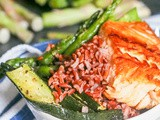 Salmon, Red Rice Veggie Bowls with Roasted Red Pepper Sauce {gf, df} + Giveaway