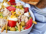 Spanish Mixed Salad with Tuna, Pickled Asparagus, Corn and Olives {gf, df}