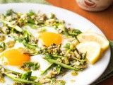 Sunny Side Up Eggs on Asparagus and Brussels Sprouts Hash {Gluten-Free, Dairy-Free}