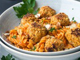 Vegan Meatballs Pasta with Roasted Red Pepper Sauce {Gluten Free, Vegan}