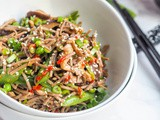 Vegan Soba Noodle Stir Fry with Shiitakes and Sugar Snap Peas {gf}