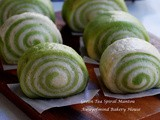 Green Tea Spiral Mantou (Chinese Green Tea Steamed Bun 緑茶双色馒头卷 ) (Overnight Sponge Dough Method)