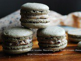 Nut Free Black Sesame Macarons with Azuki Cream Cheese (黑芝麻红豆乳酪马卡龙)