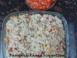 Baked mexican rice with tomato sauce