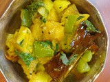 Kumro Alu Capsicum tarkari - Vegan Pumpkin Potato curry with capsicum