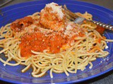 Rachel Ray's Baked Meatballs with what else but...Spaghetti