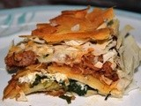 Spinach and Mince Meat Filo Pie