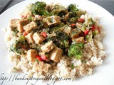 Ginger Tempeh and Greens Over Brown Rice