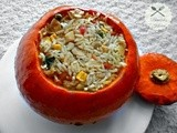 Roasted Pumpkin Stuffed with Chicken Rice