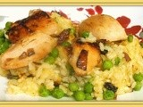 Baked Chicken, Lemon and Pea Risotto
