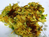 Japanese Style Savory Vegetable Pancakes with Chicken - EwE