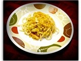Spaghetti with Cabbage and Corn Chip Crumbs