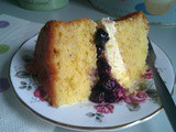 Blueberry, Lemon and White Chocolate Sponge