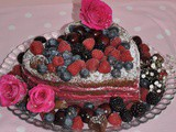 Chocolate and Blackcurrant Heart Cake
