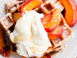 Belgian Buttermilk Waffles with Roasted Peaches and Vanilla Mascarpone