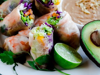 Brown Rice Summer Rolls with Peanut Lime Dipping Sauce