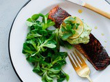 Brown Sugar and Chili-Rubbed Salmon with Avocado Crema