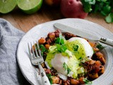Chorizo Hash Eggs Benedict with Cilantro Hollandaise