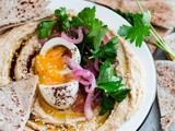 Hummus with Soft Boiled Egg, Pickled Onion, Parsley, and Sumac Oil