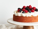 Lemon Coconut Cake with Cream and Berries