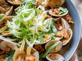 Negra Modelo Steamed Clams with Chorizo and Shaved Fennel-Herb Salad