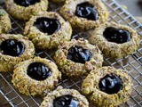 Pistachio Thumbprint Cookies with Black Currant Jam