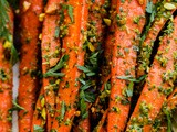 Roasted Carrots with Carrot Top-Pistachio Pesto