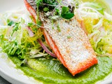 Seared Sockeye Salmon with Green Chile Adobo Sauce and Frisée Salad