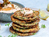 Cheesy Zucchini Fritters With Spicy Ranch Dip (Keto Recipe)