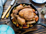 Roast chicken with veggies and spices