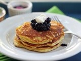 Banana Nut Pancakes with Blueberry Compote