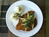 Breaded Pork Cutlet with Sauteed String Beans and Mashed Potatoes