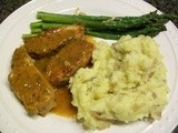 Bobbi on a Budget - Chili Braised Pork with Asparagus and Mashed Potatoes