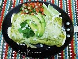 Chicken Enchiladas with Avocado Cream Sauce for Cinco de Mayo #SundaySupper