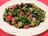 Creamy Cilantro Lime Salad with Quinoa, Avocado, Tomato, and Black Beans