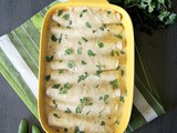 Easy Creamy Green Chile Chicken Enchiladas